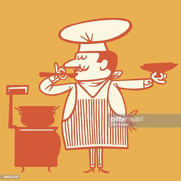 ilustraciones, imágenes clip art, dibujos animados e iconos de stock de sopa de degustación del chef - chef