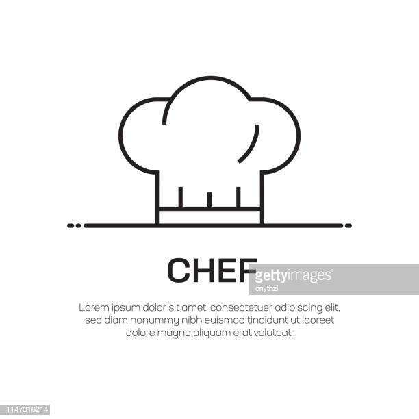 chef vector line icon - simple thin line icon, premium quality design element - hat stock illustrations