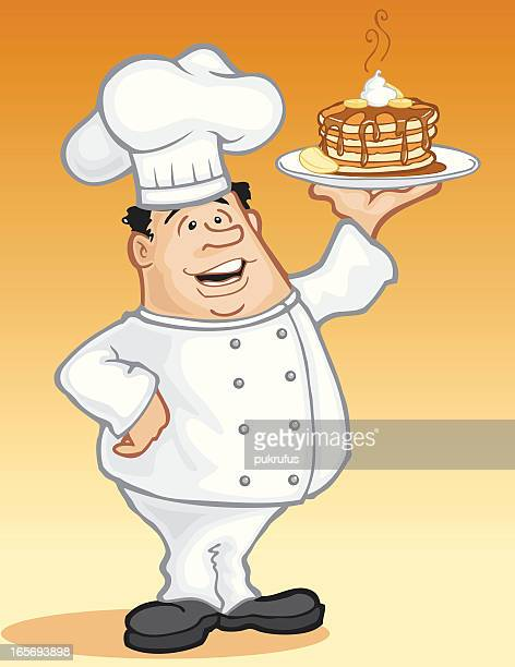 chef with banana pancakes - whipped cream stock illustrations, clip art, cartoons, & icons
