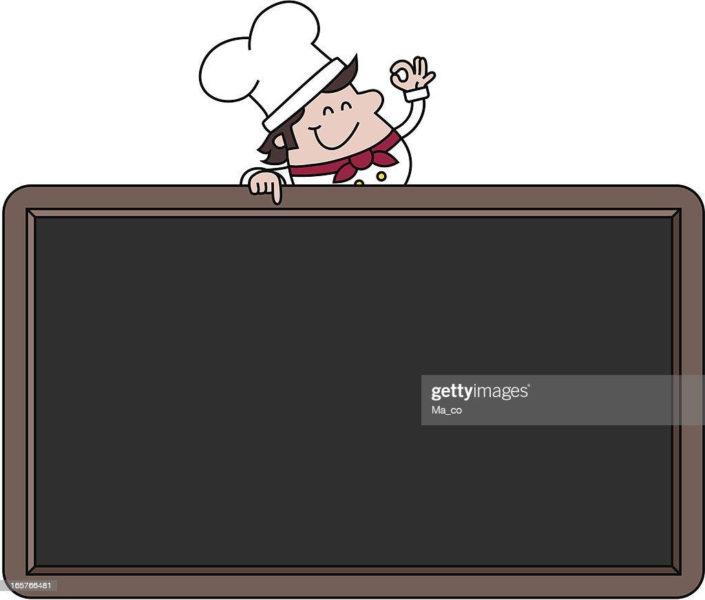 Chef with blank menu board