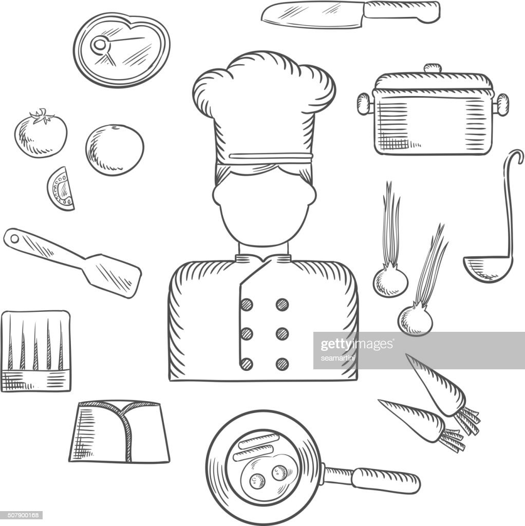 Chef with kitchen and food icons