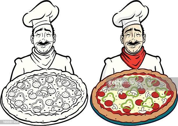 ilustrações, clipart, desenhos animados e ícones de chef com pizza - cultura italiana