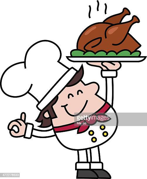 ilustraciones, imágenes clip art, dibujos animados e iconos de stock de chef con pollo asado - pollo asado