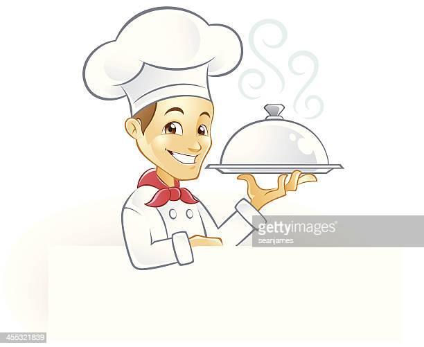 ilustraciones, imágenes clip art, dibujos animados e iconos de stock de chef con humeante bandeja para servir y signboard de retención - al vapor