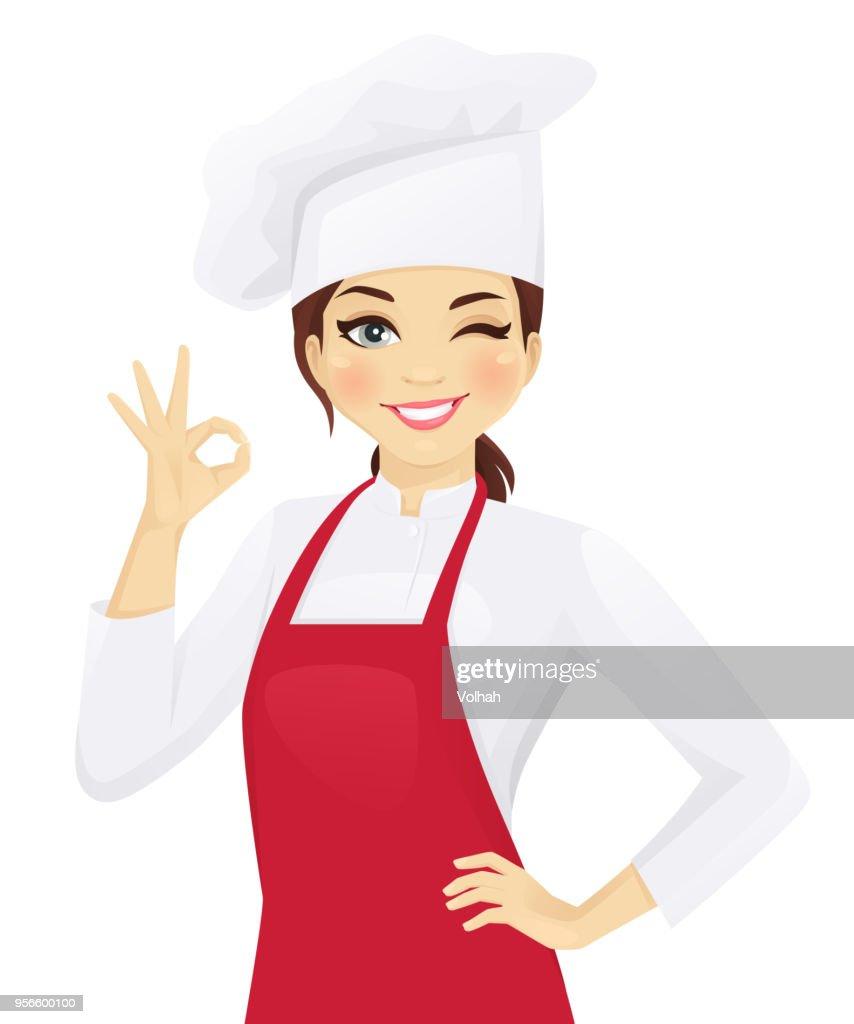 Chef woman gesturing ok