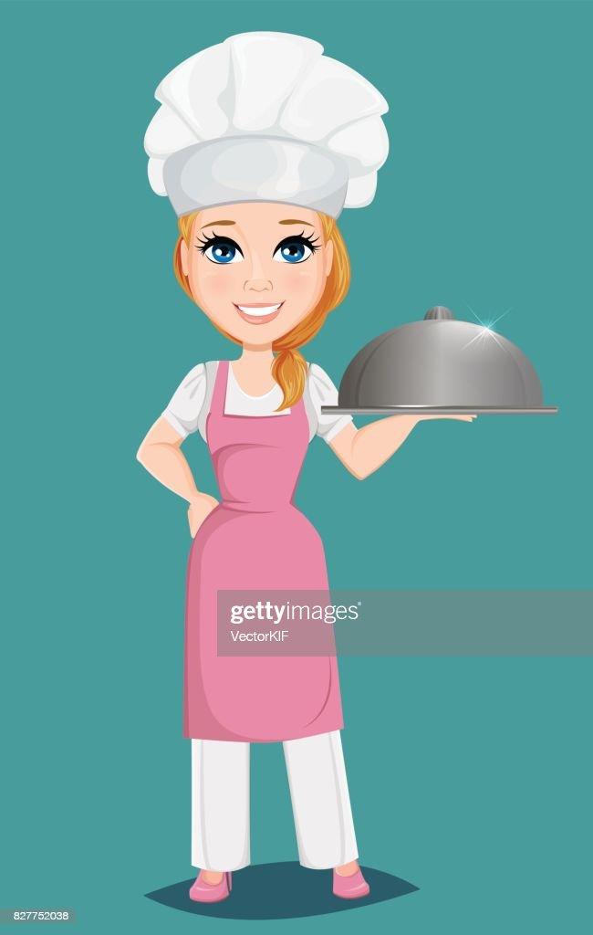 Chef Femme En Chapeau Rose Tablier Et Cook Tenant La Cloche Du