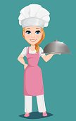 Chef woman in pink apron and cook hat holding restaurant cloche. Cute cartoon character cook.