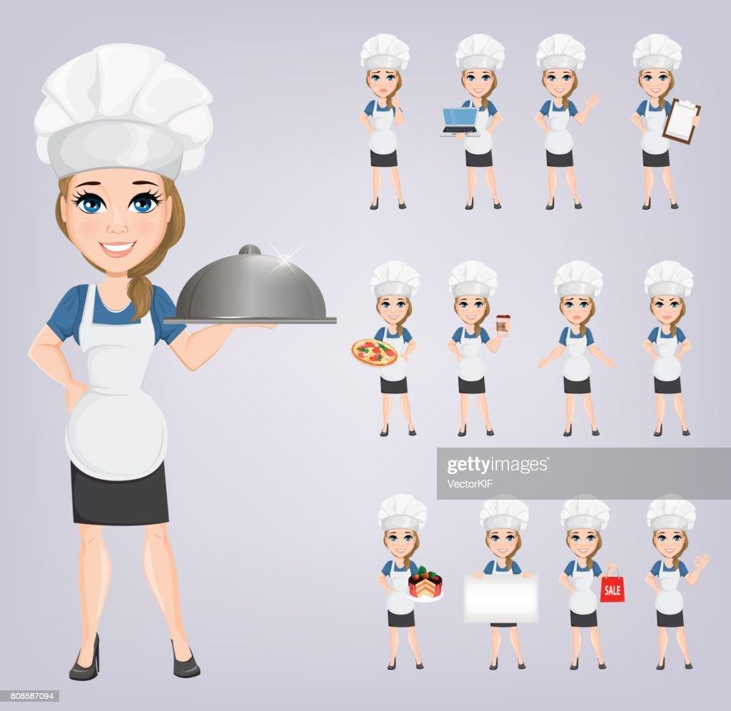 Chef woman set. Cute cartoon character cook. Vector illustration. EPS10
