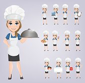 Chef woman set. Cute cartoon character cook. Vector illustration. EPS10