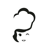 Chef woman with cook hat icon icon vector