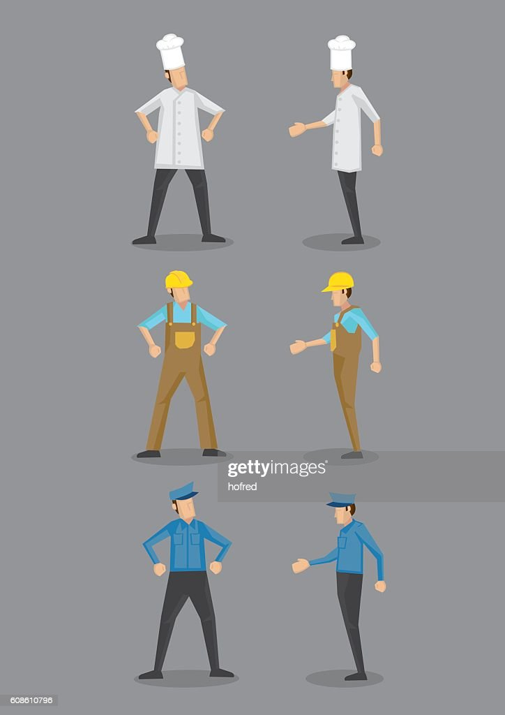 Chef, Worker and Security Guard in Uniform Vector Icon
