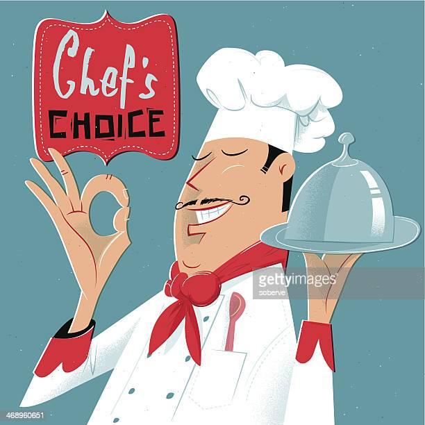 ilustraciones, imágenes clip art, dibujos animados e iconos de stock de el chef aprobada - chef