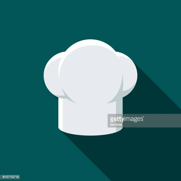 Chef's Hat Flat Design BBQ Icon with Side Shadow