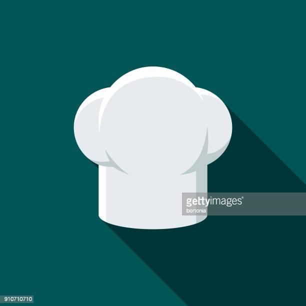 ilustrações, clipart, desenhos animados e ícones de chapéu design plano ícone de churrasco do chef com sombra do lado - chapéu de cozinheiro