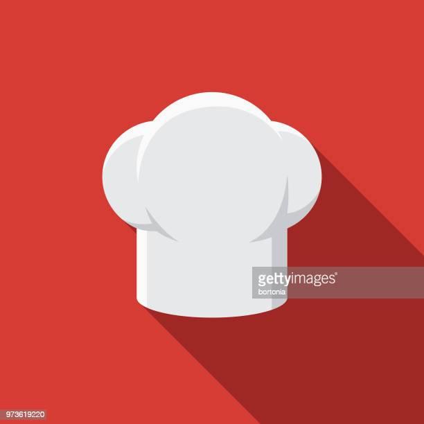 stockillustraties, clipart, cartoons en iconen met chef's hat plat design keuken gebruiksvoorwerp pictogram - hoed