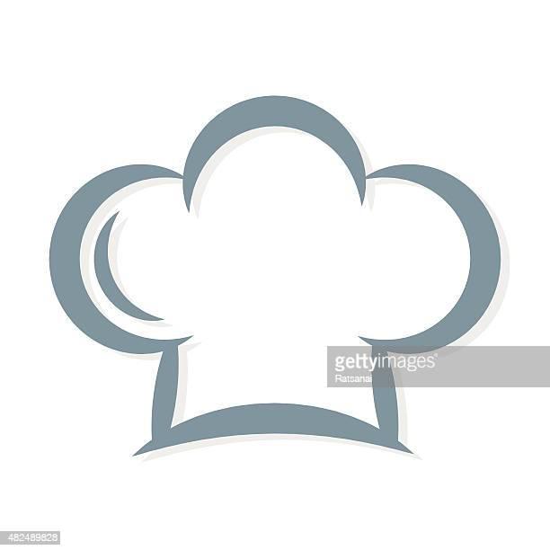 ilustraciones, imágenes clip art, dibujos animados e iconos de stock de gorro de chef icono de vector - gorro de chef