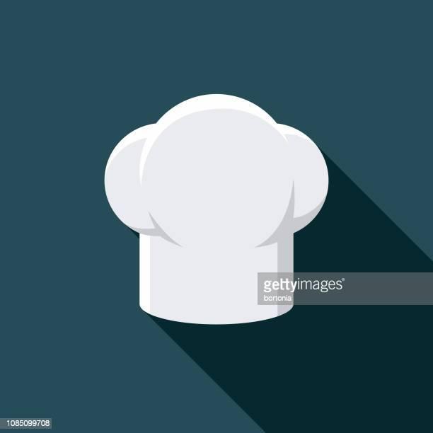 ilustrações, clipart, desenhos animados e ícones de ícone de kit do chef chapéu refeição - chapéu de cozinheiro