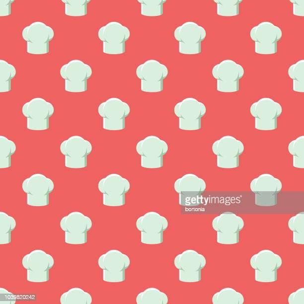 ilustraciones, imágenes clip art, dibujos animados e iconos de stock de patrón sin fisuras de chef - gorro de chef