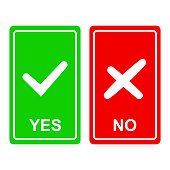 Chek mark yes and no sign on a green
