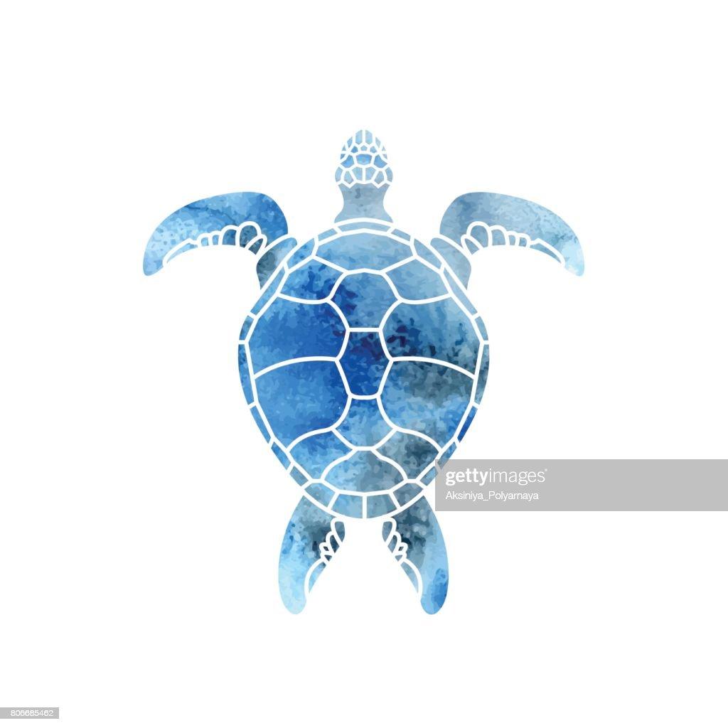 Cheloniidae. Turtle. Wildlife. Silhouette. Symbol, icon. Vector illustration.