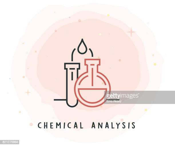 Chemical Analysis Icon with Watercolor Patch