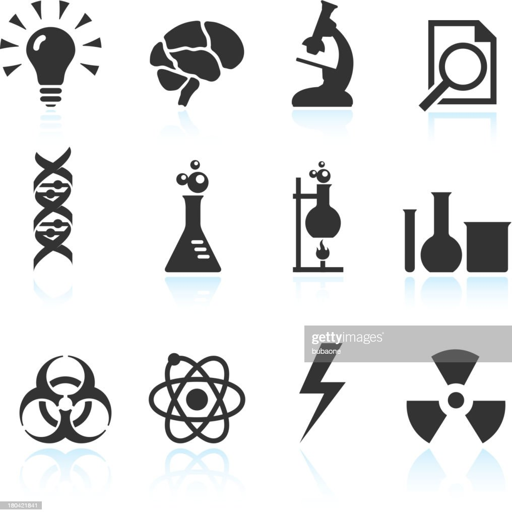 Chimique de science Innovation & noir et blanc vector icon set : Clipart vectoriel