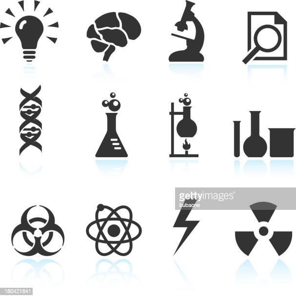 化学的、科学的革新ブラック&白のベクトルアイコンを設定します。