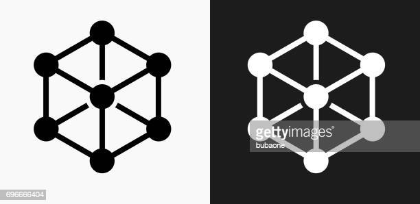Chemical Compound Icon on Black and White Vector Backgrounds