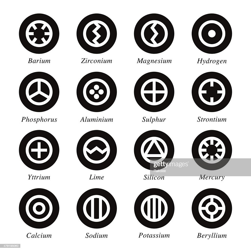 Chemical Element Icons Set 1 - Black Circle Series : stock illustration