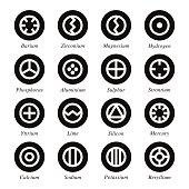 Chemical Element Icons Set 1 - Black Circle Series
