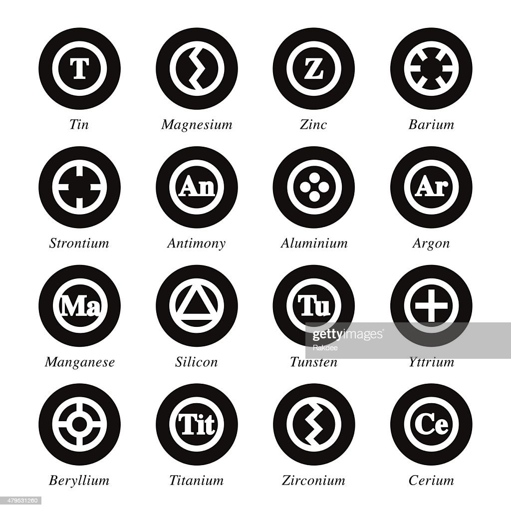 Chemical Element Icons Set 3 - Black Circle Series