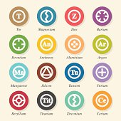 Chemical Element Icons Set 3 - Color Circle Series