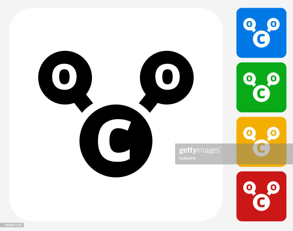 CO2 Chemical Icon Flat Graphic Design