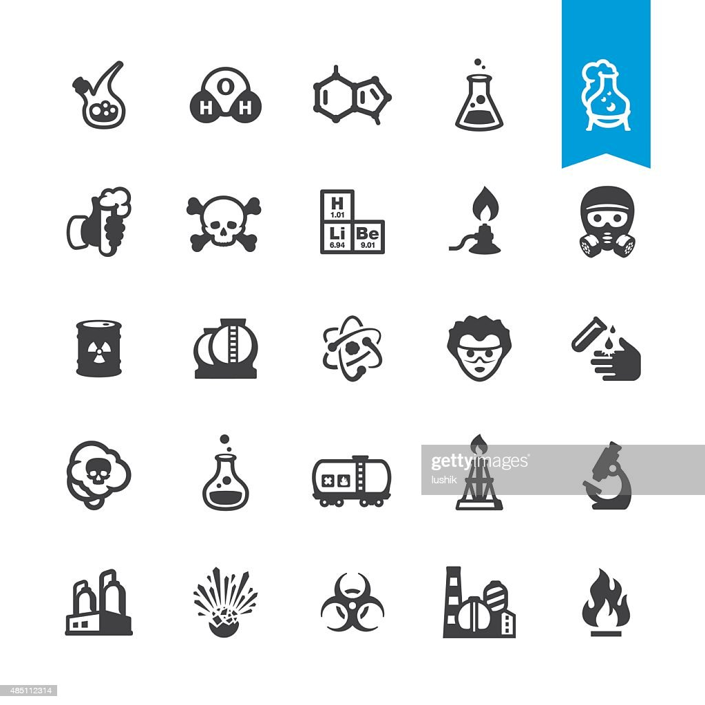Chemical industry and Laboratory related vector icons : stock illustration