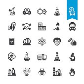 Chemical industry and Laboratory related vector icons