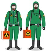 Chemical industry concept. Couple of workers man and woman in green protective suits standing together on white background in flat style. Dangerous profession. Vector illustration.