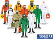 Chemical industry concept. Group different workers standing together in differences protective suits on white background in flat style. Dangerous profession. Vector illustration