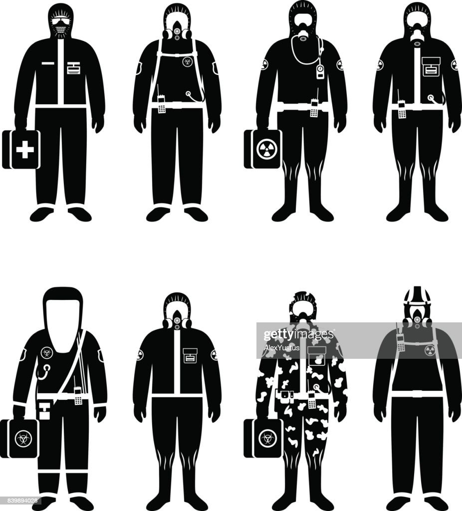 Chemical industry concept. Set of different silhouettes workers in differences protective suits on white background in flat style. Dangerous profession. Vector illustration.