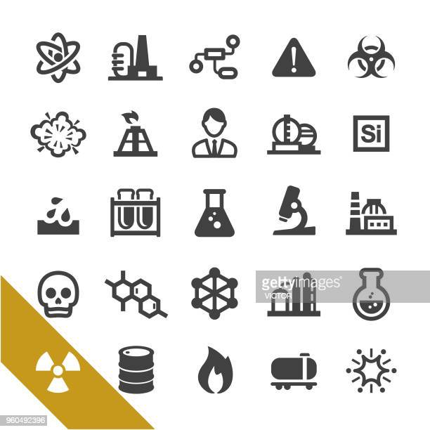 chemical industry icons - select series - radioactive contamination stock illustrations
