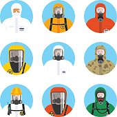 Chemical industry icons set. Different worker people in protective suits in flat style isolated on blue background. Dangerous profession. Vector illustration