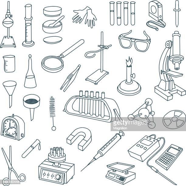 chemical laboratory equipment doodles - pipette stock illustrations, clip art, cartoons, & icons