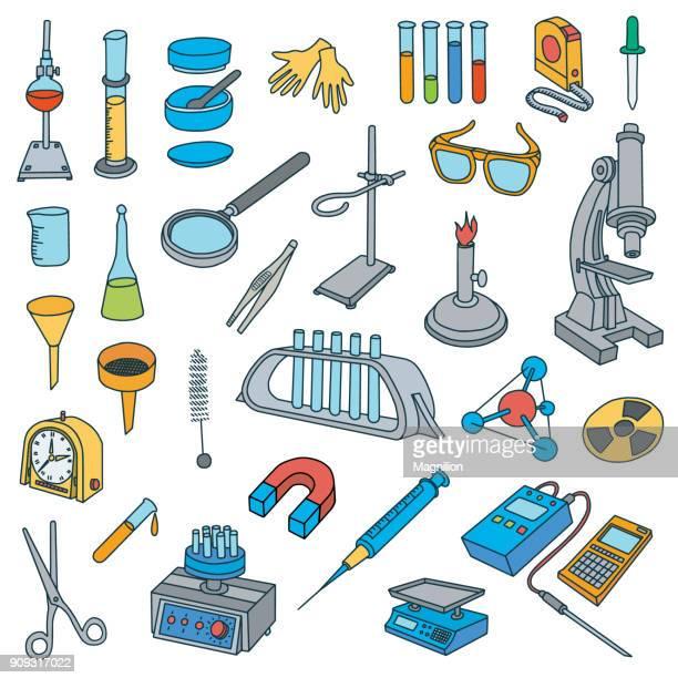 chemical laboratory equipment doodles - laboratory equipment stock illustrations
