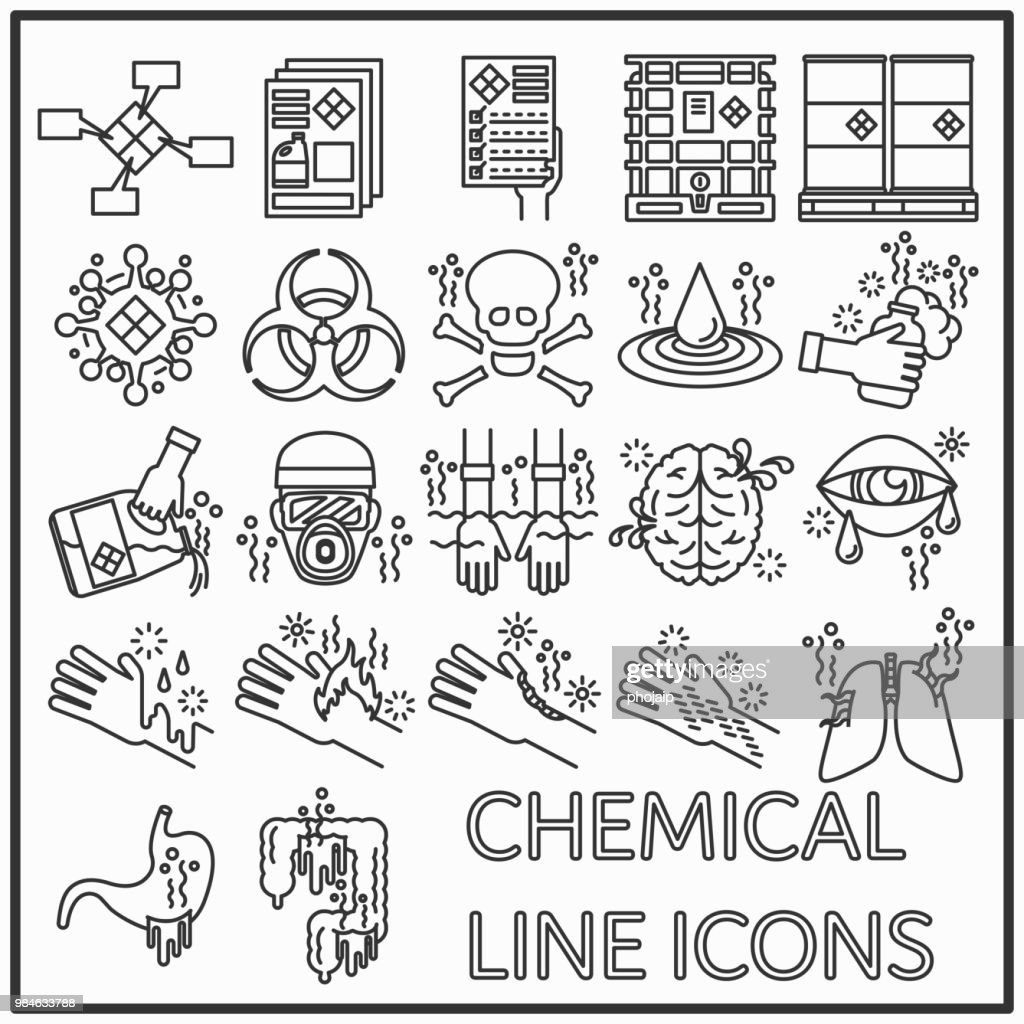 Chemical line icons graphic design, Set of Chemical hazards and protective equipment line icons for pattern and media decorations.