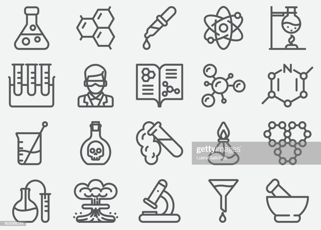 Chemical Line Icons : stock illustration
