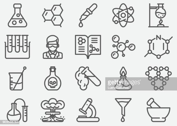 chemical line icons - science stock illustrations