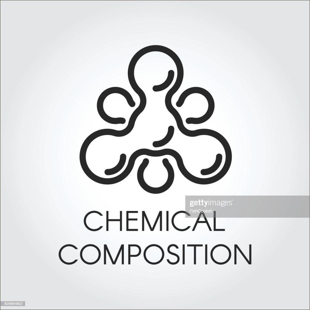 Químico Molecular ícone No Estilo Linear Logotipo Contorno