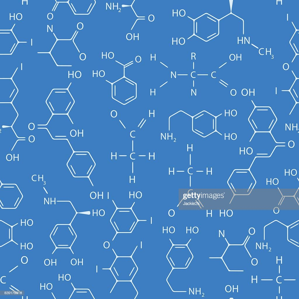 Chemical seamless pattern. Blue.