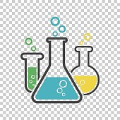 Chemical test tube pictogram icon. Laboratory glassware or beaker equipment isolated on isolated background. Experiment flasks. Trendy modern vector symbol. Simple flat illustration