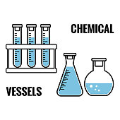 Chemical vessels with blue fluid. Vector illustration