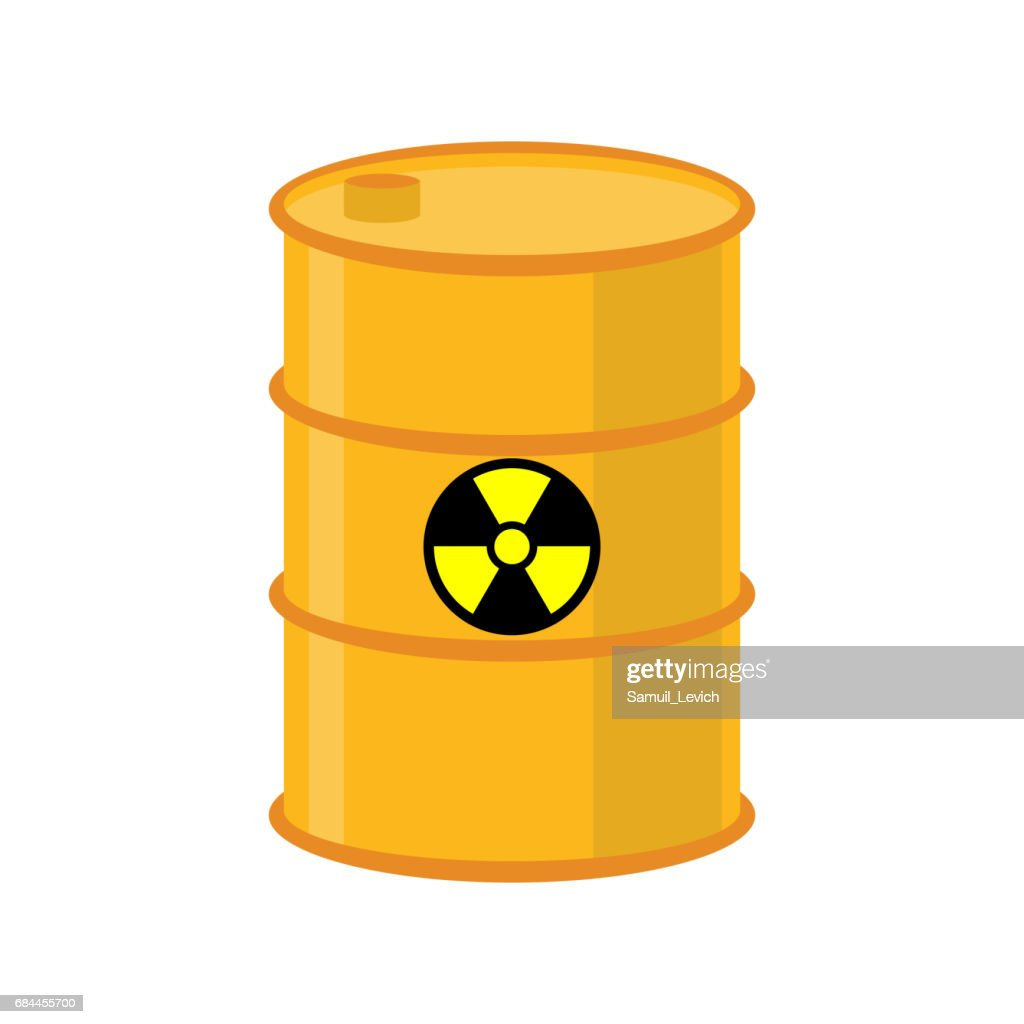 Chemical waste yellow barrel. Toxic refuse keg. Poisonous liquid cask. Radioactive garbage emissions. environmental pollution. danger of ecological disaster